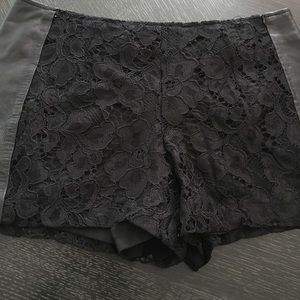Trina Turk Lace and leather black shorts